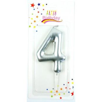Świeczka na tort 9cm srebrna cyfra 4